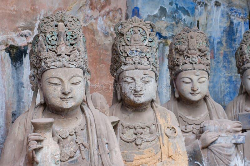 Carvings da rocha de Dazu, chongqing, porcelana imagens de stock