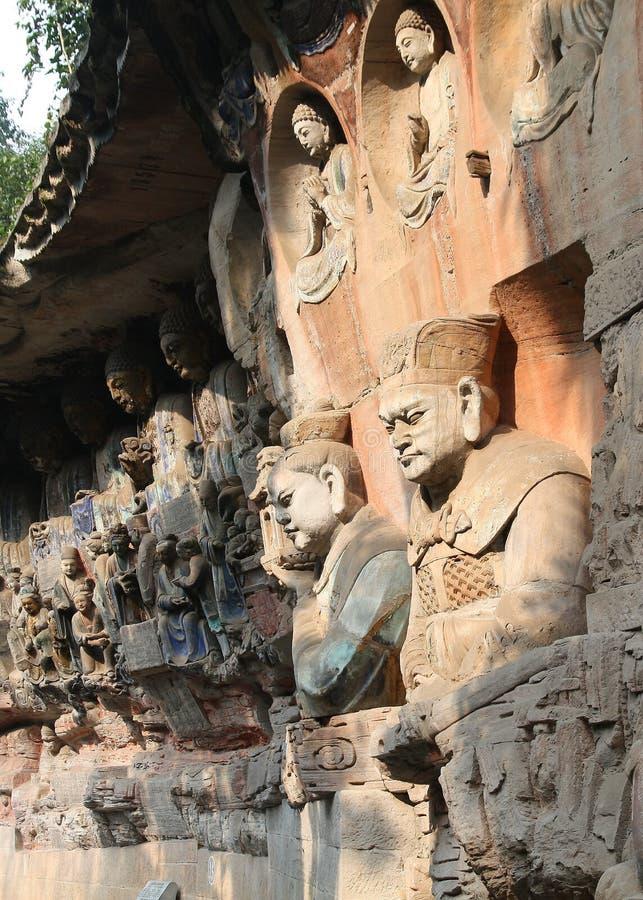 Carvings da rocha de Dazu em Chongqing fotos de stock royalty free