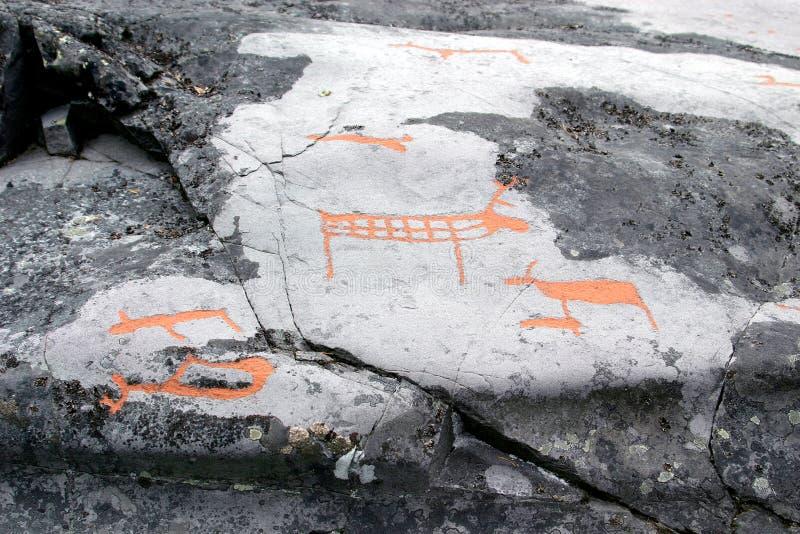 Carvings da rocha em Alta, Noruega fotos de stock royalty free