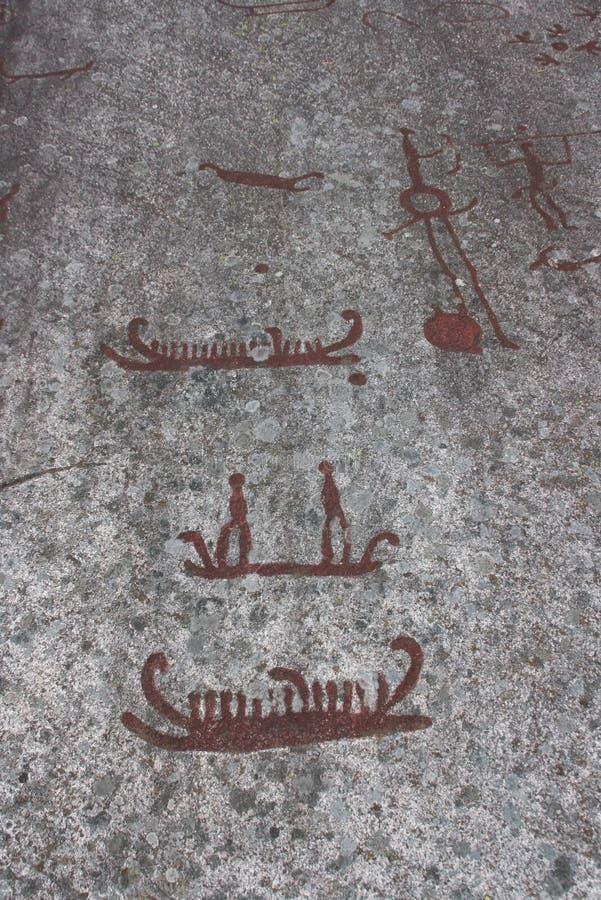 Carvings da rocha em Tanum foto de stock