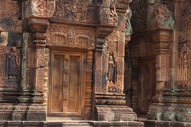 Carvings de Banteay Srei fotografia de stock royalty free