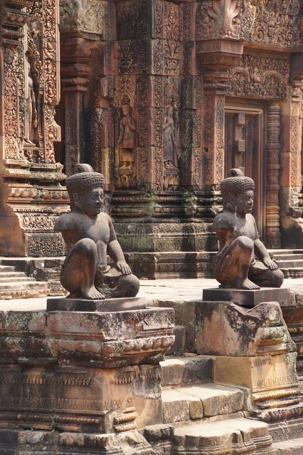 Carvings de Banteay Srei imagens de stock royalty free