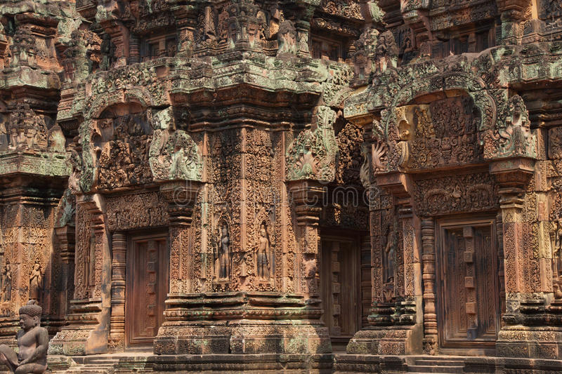 Carvings de Banteay Srei fotos de stock royalty free