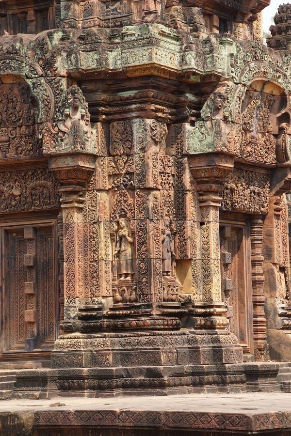 Carvings de Banteay Srei imagens de stock