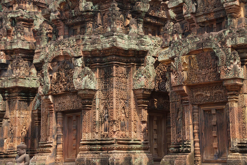 Carvings de Banteay Srei imagem de stock royalty free