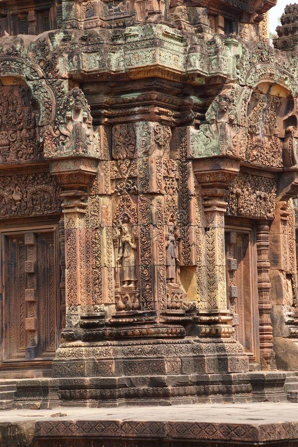 Carvings de Banteay Srei fotos de stock royalty free