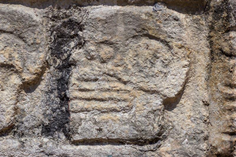 Carvings de pedra maias fotos de stock