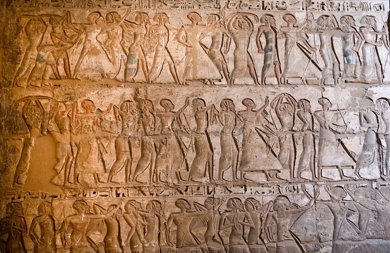 Carvings at Medinet Habu. Temple of Medinet Habu (dedicated to Ramesses III), on the West bank of the Nile at Luxor, Egypt royalty free stock image