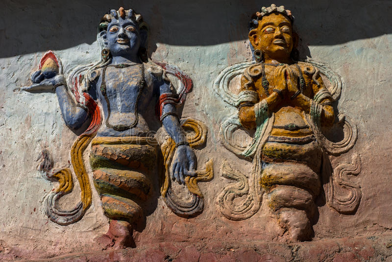 Carvings (Nagas) in Thiksay Monastery stock photography