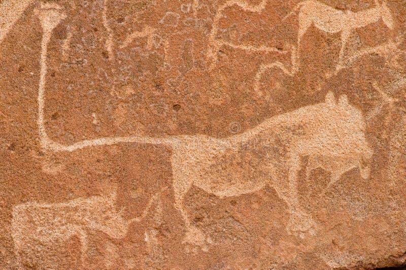 Carvings pré-históricos da rocha, Namíbia imagem de stock