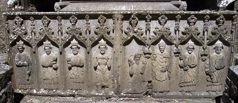 Carvings at Strade Friary, Ireland. Elaborate carvings at Strade Friary, Co. Mayo, Ireland royalty free stock photo