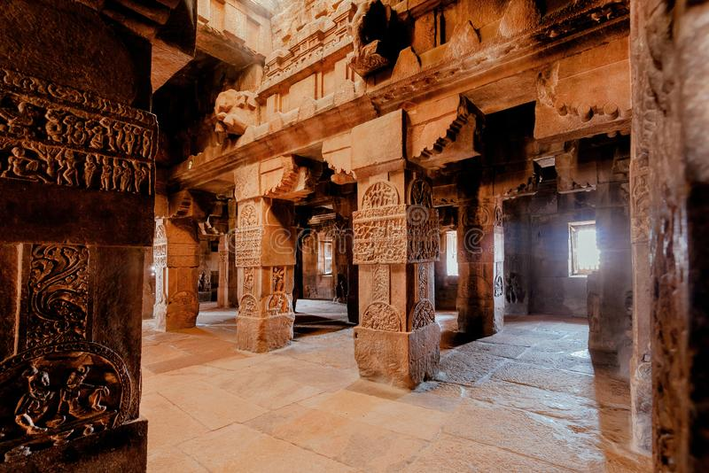 Carvings on walls of the Hindu temple, India. 7th century architecture in Pattadakal with decorations on stone reliefs stock images
