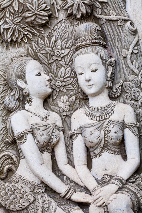 Carvings of women royalty free stock images