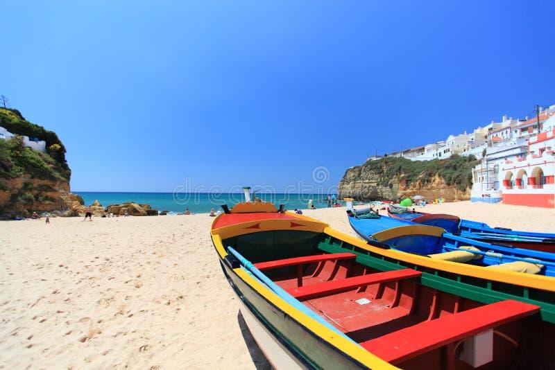Carvoeiro på Algarven i Portugal fotografering för bildbyråer