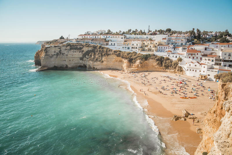 CARVOIERO, PORTUGAL. The southern region of Portugal, called the Algarve, is filled with countless little coves and hidden beaches. One of the most scenic is royalty free stock photography