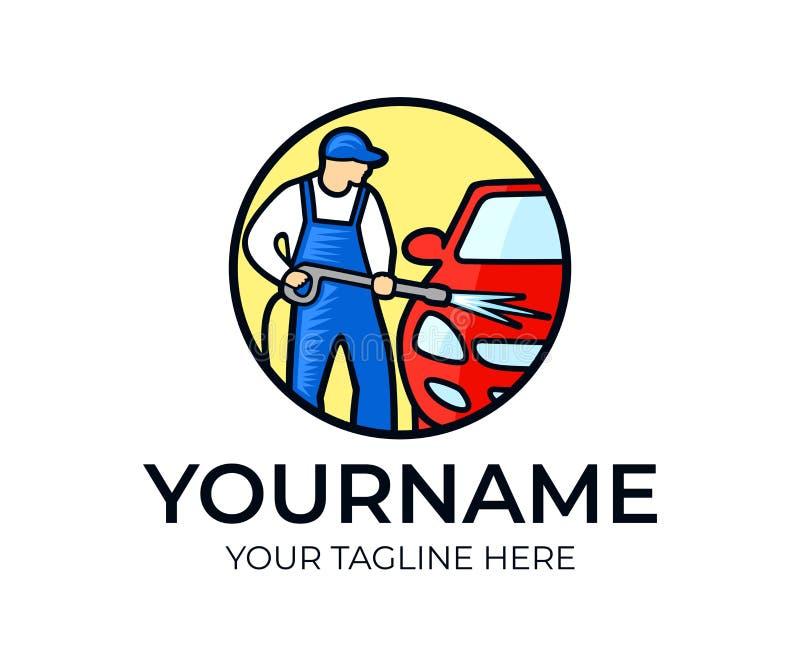Carwash, carwashman πλυσίματα το αυτοκίνητο, πρότυπο λογότυπων Καθαρίζοντας υπηρεσίες αυτοκινήτων και χρησιμοποίηση του υψηλού νε ελεύθερη απεικόνιση δικαιώματος