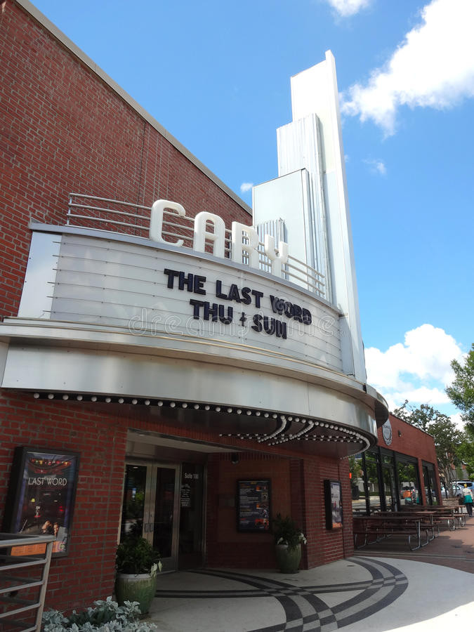 Cary Theatre in North Carolina. The renovation of Cary Theatre is part of the town`s revitalization effort stock image