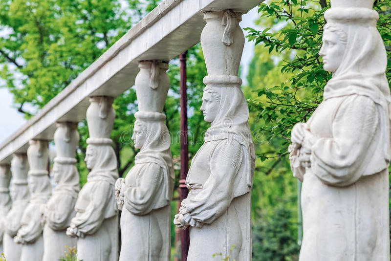 Caryatid Alley in Herastrau park in Bucharest royalty free stock photo