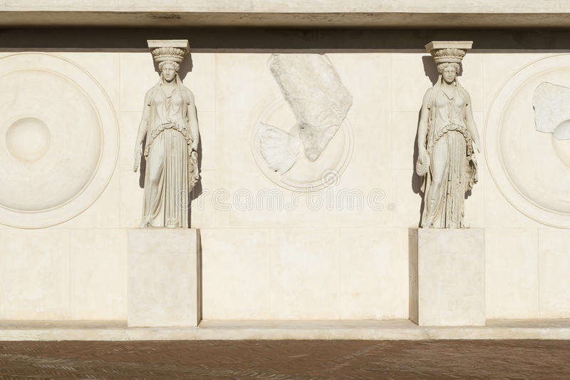 Caryatid in archaeological museum. Of campi flegrei castello aragonese royalty free stock photo