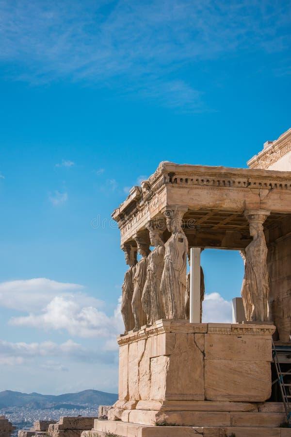 Caryatids of Acropolis royalty free stock image