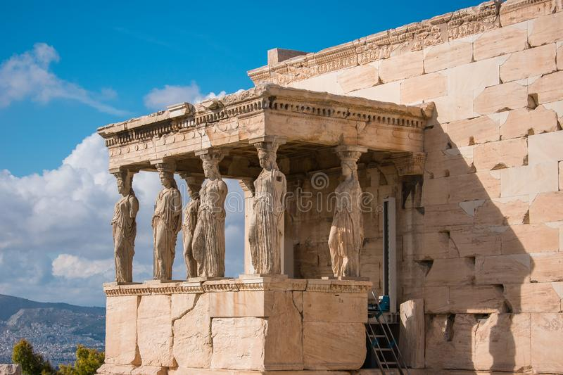 Caryatids of Acropolis. A caryatid is a sculpted female figure serving as an architectural support taking the place of a column or a pillar supporting an stock image