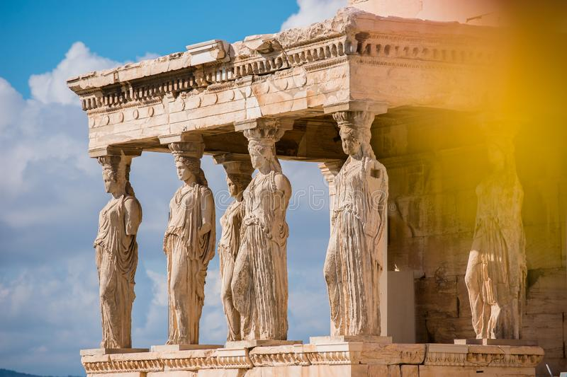 Caryatids of Acropolis stock photo