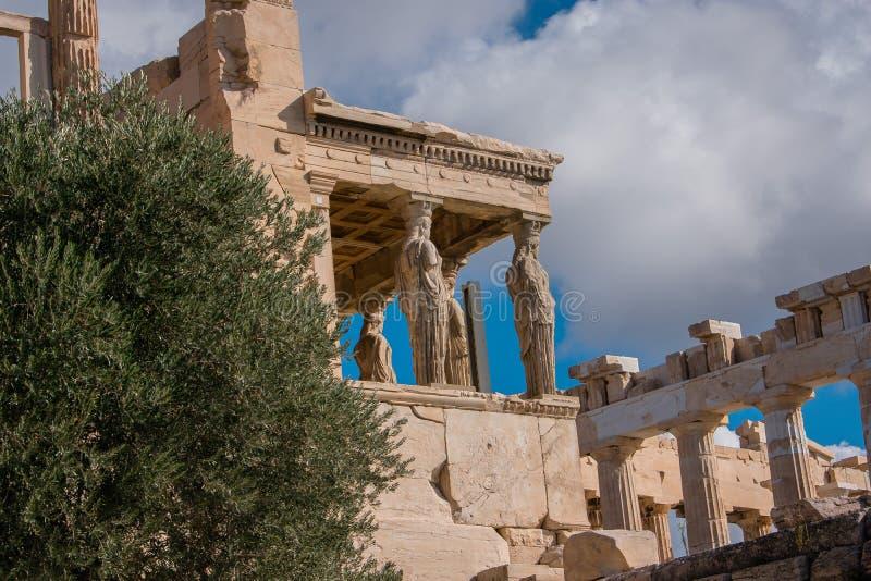 Caryatids of Acropolis royalty free stock photos