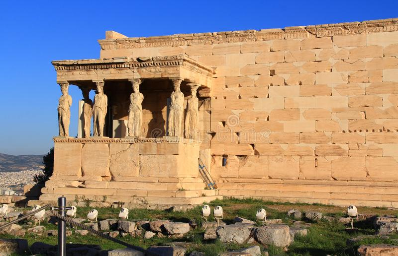 Caryatid Statues on the Porch of the Erechtheion in Athens, Greece stock image