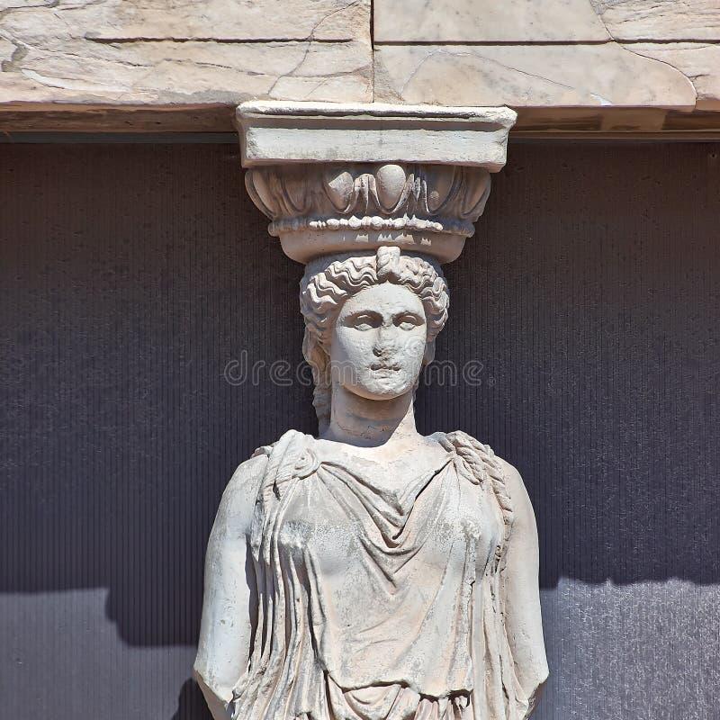Caryatiddetalj, Acropolis av Athens arkivbild