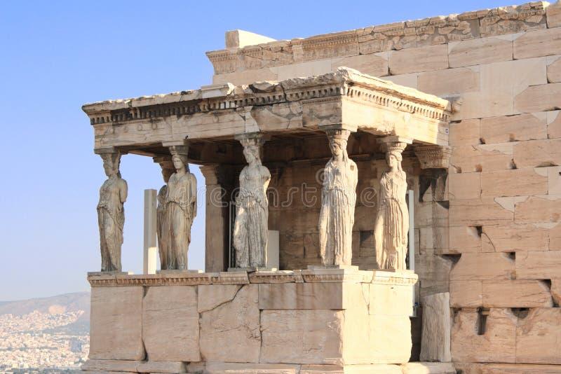 Caryatides门廊在从亚典人上城, Greec的Erechtheum 免版税库存照片