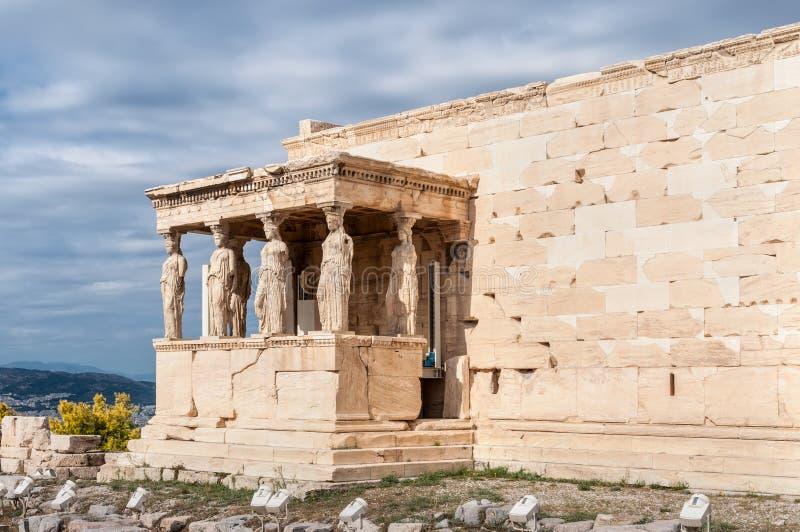 Caryatides, акрополь виска Erechtheion, Афины, Греция стоковое фото