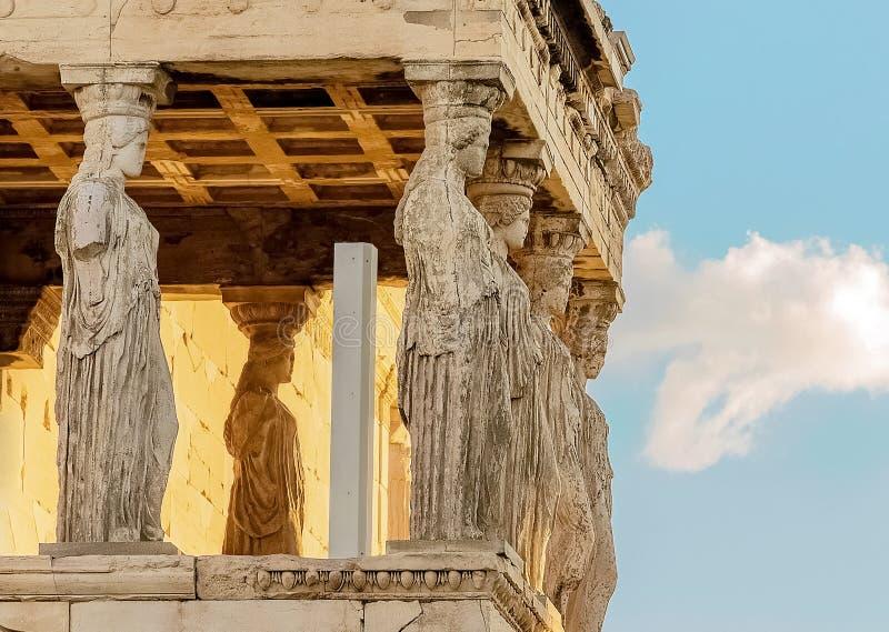 Caryatides, akropol Ateny fotografia stock