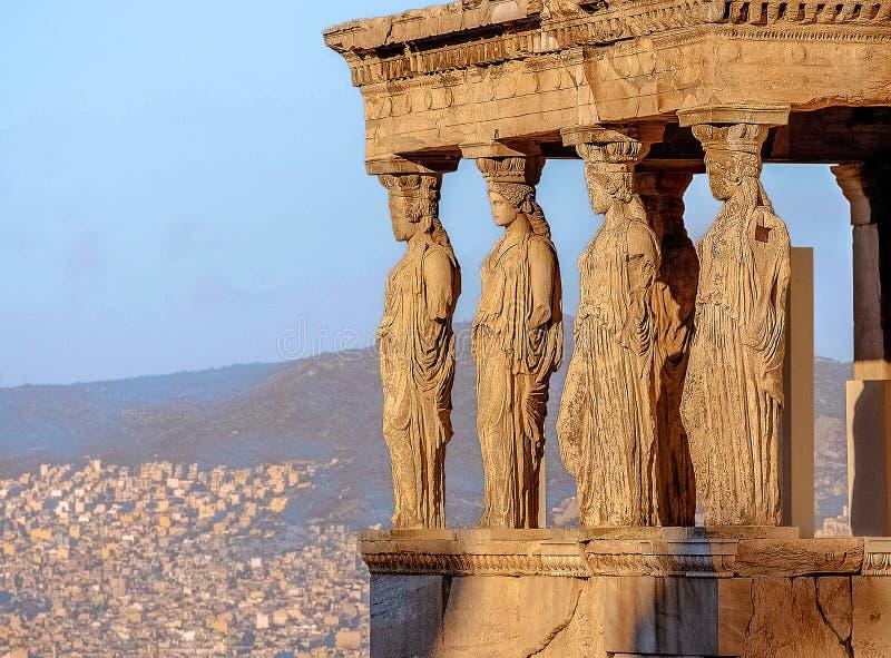 Caryatides, akropol Ateny fotografia royalty free
