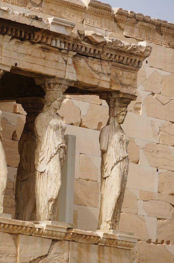 Caryatides Erechtheion, акрополя в Афинах, Греции стоковая фотография rf
