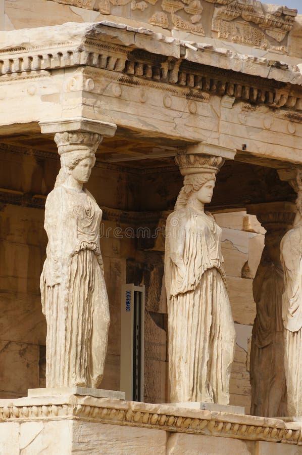 Caryatides Erechtheion, акрополя в Афинах, Греции стоковое изображение