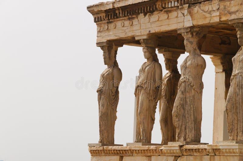 Caryatides Erechtheion на акрополе в Афинах, Греции стоковое фото rf