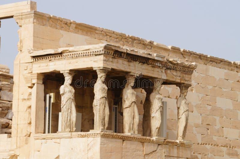 Caryatides Erechtheion на акрополе в Афинах, Греции стоковые фото