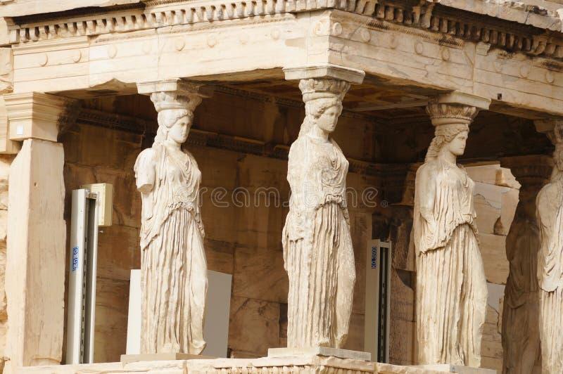 Caryatides Erechtheion на акрополе в Афинах, Греции стоковая фотография