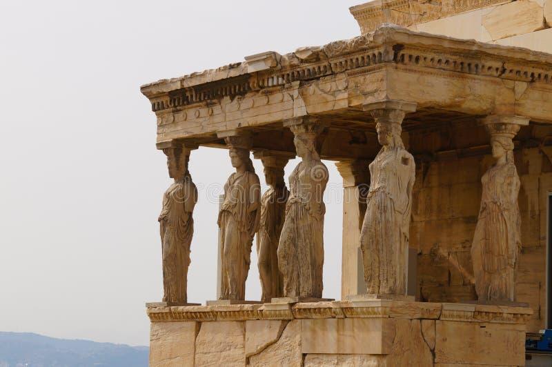 Caryatides, Erehtheio, акрополь, Афины, Греция стоковое изображение rf