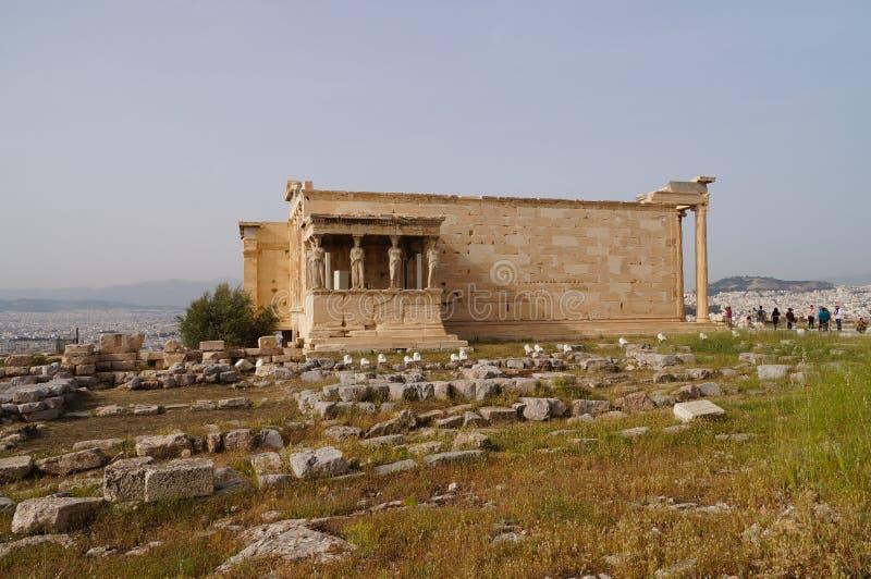 Caryatides, Erehtheio, акрополь, Афины, Греция стоковое фото