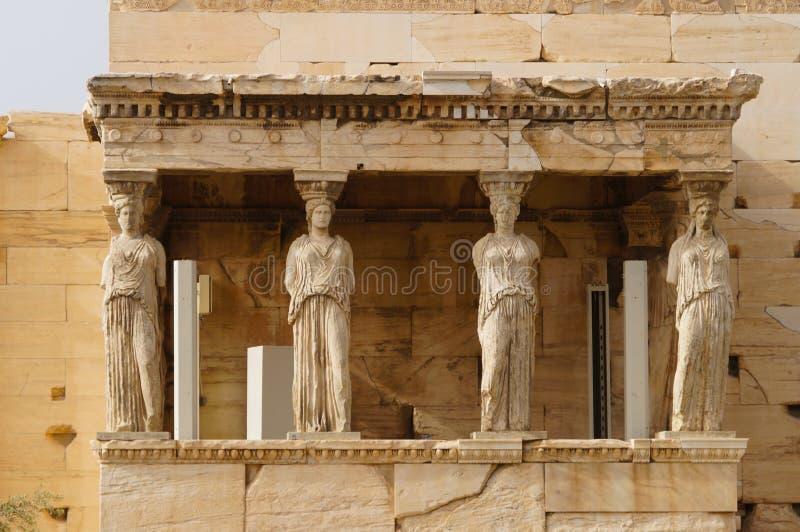 Caryatides, Erehtheio, акрополь в Афинах стоковое фото