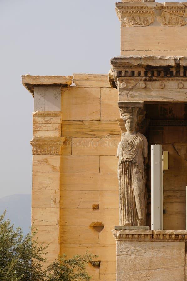 Caryatides, Erehtheio, акрополь в Афинах стоковые фото