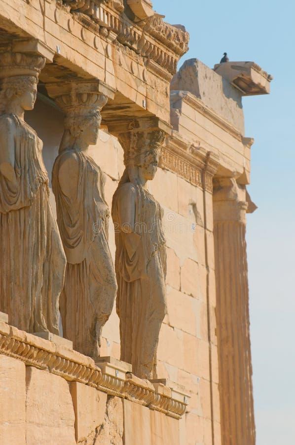 Caryatids, акрополь, athens стоковая фотография rf