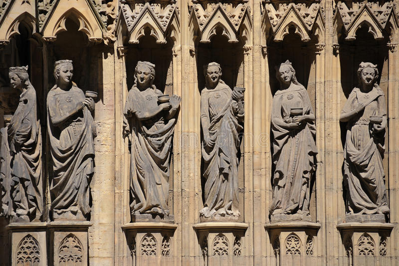 Caryatids. Erfurt, Germany - Caryatids, sculpted female figures, used as columns of cathedral (Dom stock photo
