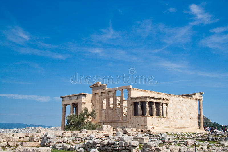 Caryatids. Temple at Acropolis, Athens, Greece stock images