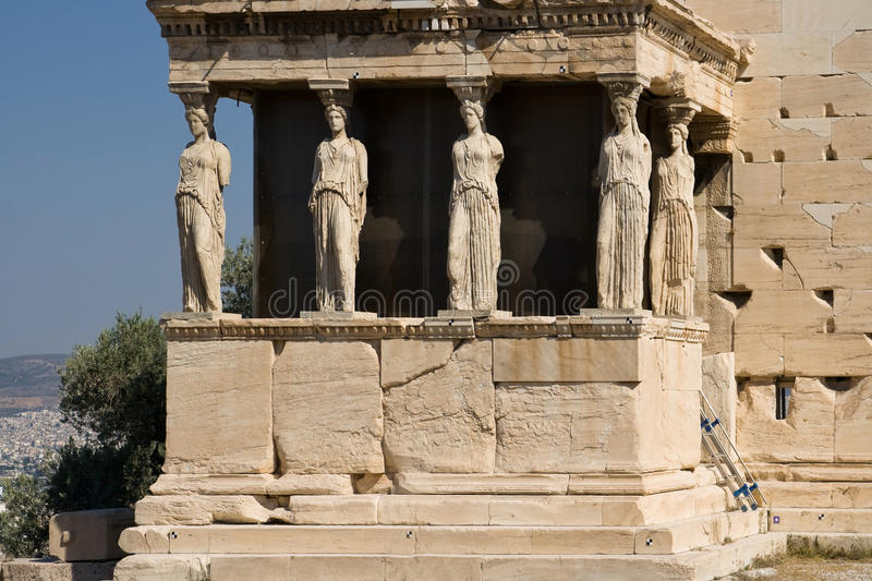 The Caryatids. Porch of the Caryatids of the Erechthion temple at Acropolis, Athens, Greece stock photo