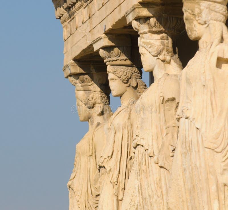 Caryatids, acropoli, Atene immagine stock