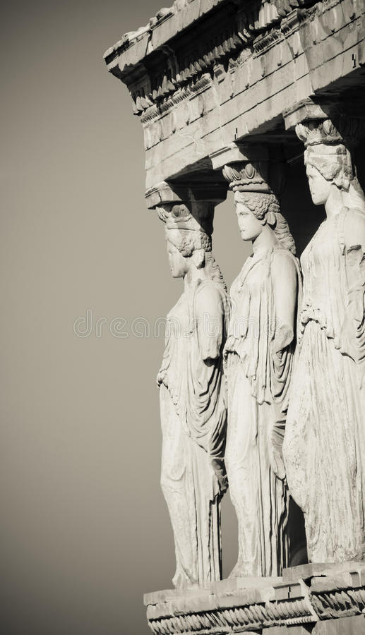 Caryatids, acropolis, athens. Caryatids in black and white, acropolis, athens royalty free stock photo