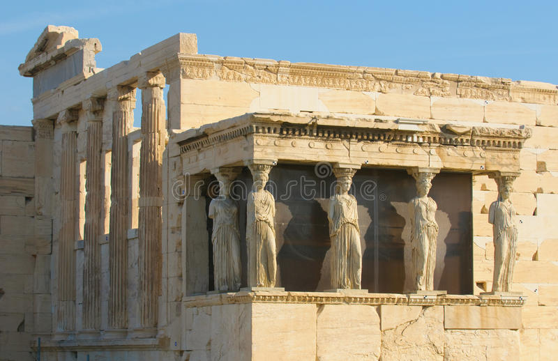 Caryatids, acropolis, athens. Porch of caryatids, acropolis, athens, greece royalty free stock photography