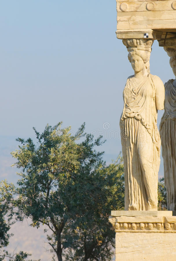 Caryatids, acropolis, athens. Porch of caryatids, acropolis, athens royalty free stock image